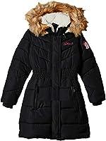 Weatherproof Girls' Big Hooded Bubble Jacket, Black 10/12