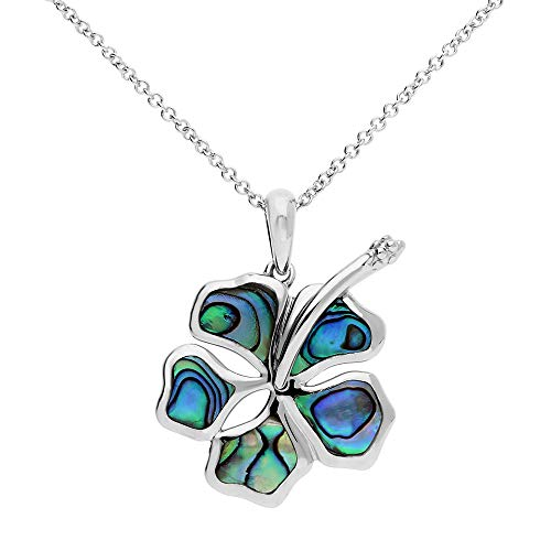 - Ze Abalone Shell Inlayed Sterling Silver Hibiscus Pendant with 18