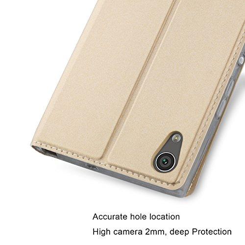 Sony Xperia XA1 Ultra Funda carcasa / caso / case, KuGi ® Sony Xperia XA1 Ultra Funda- BW estilo de alta calidad caja ultrafina de la PU del soporte para Sony Xperia XA1 Ultra teléfono inteligente.(Ne Oro