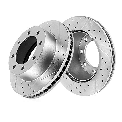 (Callahan CDS03473 REAR 340.11mm Drilled & Slotted 8 Lug [2] Rotors [ for 2005-2012 Ford F350 Super Duty Dually ] )