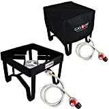 GasOne Propane Burner with Cover Burner Outdoor Camp Stove Propane Gas Cooker with Adjustable 0-20PSI CSA Listed Propane Regulator and Hose Perfect for Beer Brewing, Outdoor Cooking, Maple Syrup Prep
