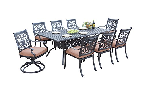 Darlee 9 Piece St. Cruz Cast Aluminum Dining Set with Spicy Chili seat Cushions and 42'' x 84'' Rectangular Dining Table, Antique Bronze Finish