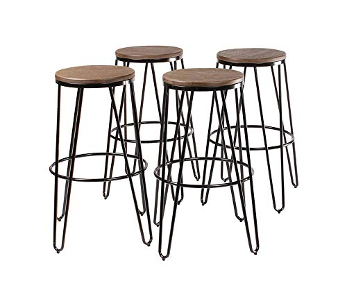 - Tully Backless Modern Wood and Metal 30