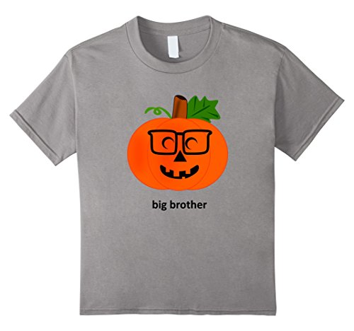 Kids Big Brother Pumpkin Halloween Costume TShirt Jack O' Lantern 8 Slate (Matching Halloween Costumes For Brother And Sister)