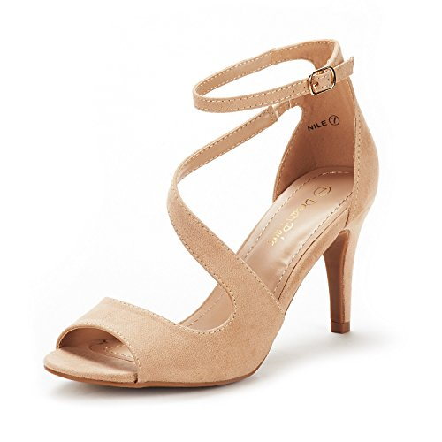 DREAM PAIRS Women's NILE Nude Fashion Stilettos Open Toe Pump Heel Sandals Size 8.5 B(M) US Beige Leather Heels
