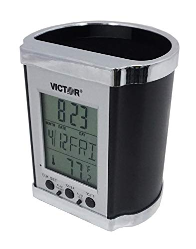 Victor PH500 Electronic Pencil Cup w/LCD Display, Temperature in Farenheit & Celsius, Time, Date, Day of Week, Great for Home and Office Desks, Black & Chrome