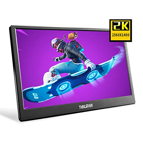 Thinlerain 13.3 Inch Portable Gaming Monitor 2K, 2560 x 1440 IPS LED Screen HDMI Monitor for Raspberry pi 3 b+ PS3 PS4 Windows 7 8 10 (Double HDMI, USB Powered, Built in Speaker), Black