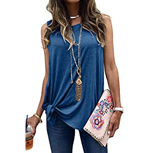 MODARANI Cold Shoulder Tops for Women Knot Twisted Casual Solid Color Shirts Tunic Tops Comfy Loose Fit