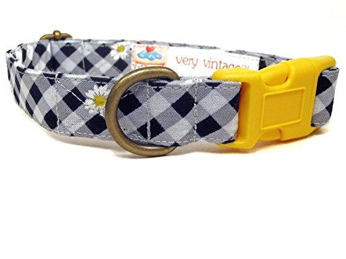 Gingham Flower (Country Girl - Black Gray Gingham Plaid Yellow White Daisy Daisies Flowers Vintage Organic Cotton Pet Collar - Handmade in the USA)