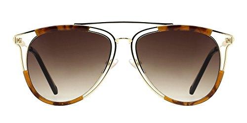 TIJN Aviator Brow Bar Angular Metal Cutout Sunglasses for Men - Brow Double