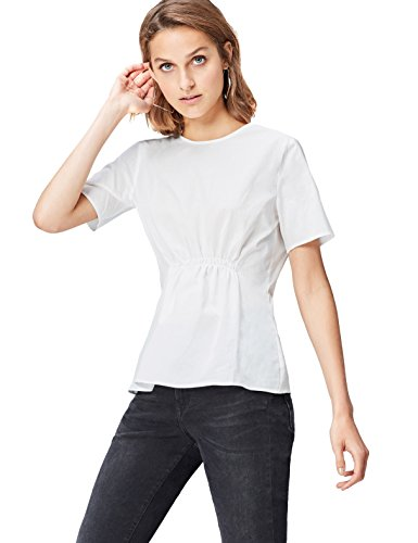 Blanc White Blouse Ruched FIND Front Femme qwpIwC17xn