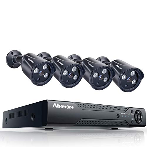 Security Camera System Abowone 8 Channel DVR 4PCS 1.0 Megapixel 720P HD IP66 Weatherproof Indoor/Outdoor Surveillance Security Cameras Remote View Motion Detect HD Night Vision(No Hard Drive)