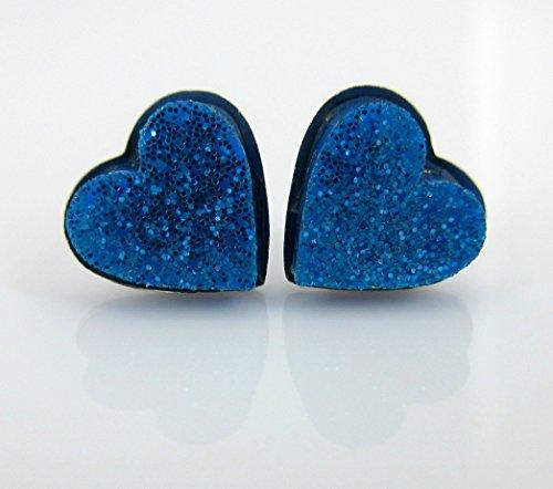 Blue Glitter Acrylic Heart Stud Earrings 8mm ()