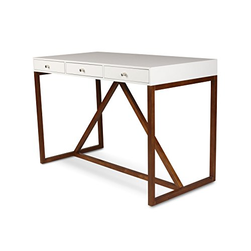 Kate and Laurel Kaya Wood Writing Desk with 3 Drawers, White Top, and Walnut Brown Base ()