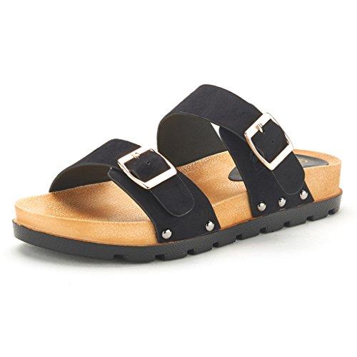 DREAM PAIRS ABI Women's Summer Open Toe Double Buckle Strap Fashion Design Slide On Flat Gladiator Sandals BLACK SIZE 7