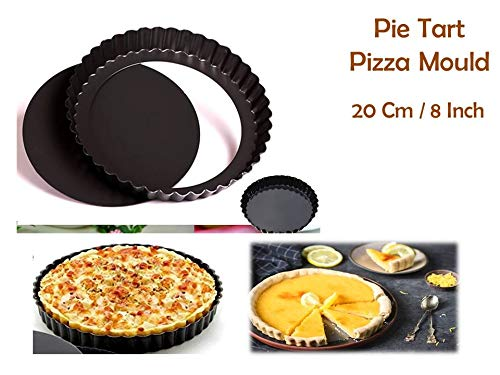Curated Cart Pizza Mould Pie Tart Pan Baking Tin with Removable Bottom, Round Carbon Steel,20 cm, Black Price & Reviews