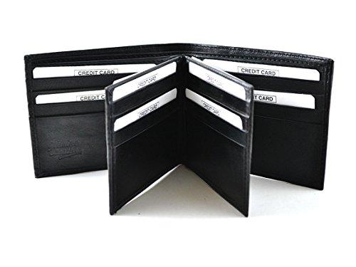 Sanmarc Genuine Leather Men's Wallet 2 Flips, 24 Cards slot, Black