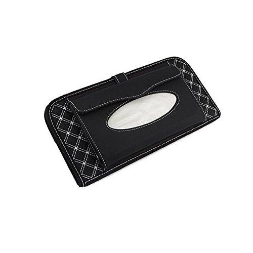 Ocamo Double-layer Multifunctional Car Leather Tissue Bag & CD Holder & Sun Visor Napkin Box 3 in 1 White line