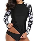 Taylover Womens Long Sleeve Swim Shirt Rash Guard Swimwear Top Rashguard Swimsuit