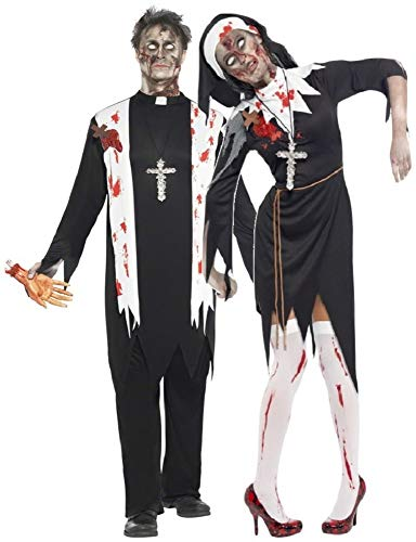 Mens & Ladies Couples Fancy Dress Zombie Nun
