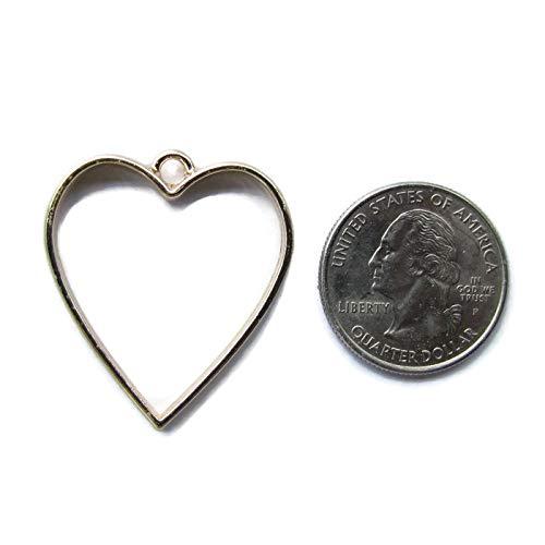 - 5 Gold Heart Open Bezels for Resin, Open Back Bezel Pendant Blanks for Jewelry Making