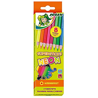 Jolly Supersticks Set of 8 Premium European Neon Mix Set of Colored Pencils; Perfect for Adult and Kids Coloring: Office Products