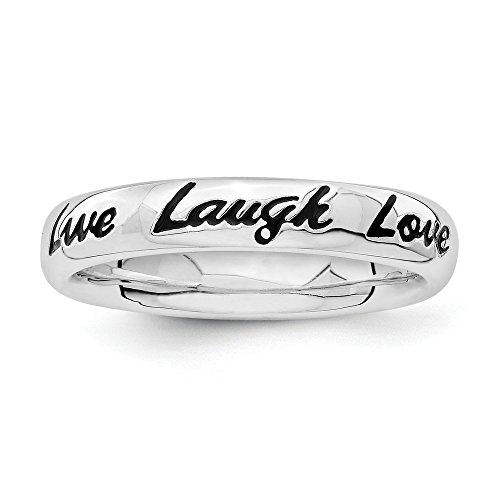 Stackable Expressions Sterling Silver Enamel Live Laugh Love Ring - Size 5 from Stackable Expressions