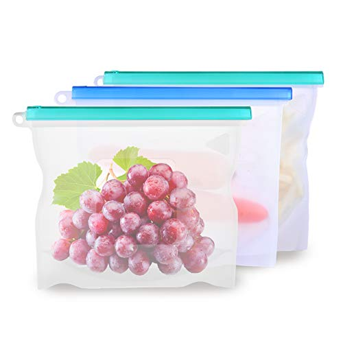 OneRose Large Reusable Silicone Food Storage Cooking Bags, Ziplock Airtight, Eco Friendly Stasher Bags Keep Food Cold or Hot. Half Gallon Zipper, Insulated Sous Vide Containers (3 - Gallon Bags Half