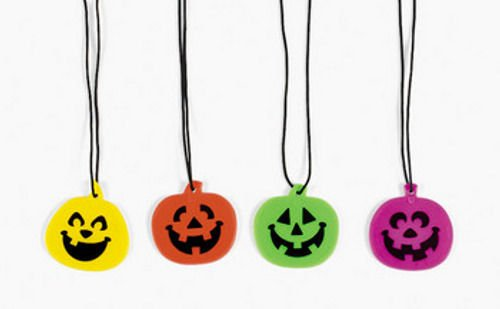 [24 Halloween Party Favors Pumpkin Jack O Lantern Necklaces] (Seven Dwarfs Costume Ideas)