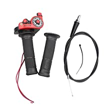 """Wingsmoto 7/8"""" Throttle Handle Grips + Cable Set 50 90 110 125cc Pit Bike Dirtbike Red"""