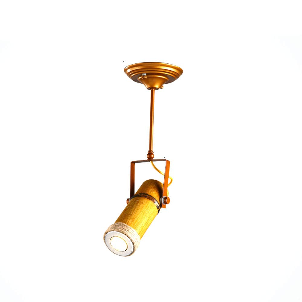 Mei Xu Track Light - Personality Creative Hemp Rope Bamboo Downlight Retro Hotel LED Lamp Long Rod Light - 5 Models - New Chandelier Track Lamp (Size : 1)