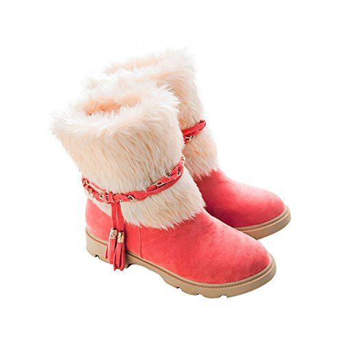 Flat Snow Waterproof Short Suede Warm Outdoor Boots Pink Women's Faux Susanny Fur Booties Fashion w0ppqR