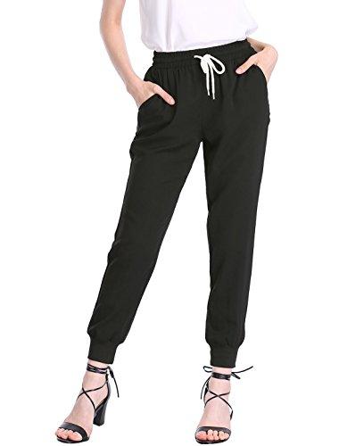 Allegra K Women's Drawstring Elastic Waist Cropped Jogger Pants M Black by Allegra K