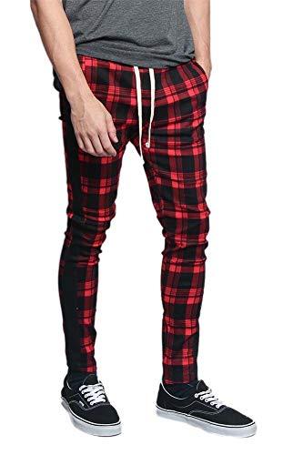 Gucci Drawstring - Men's Plaid Checkered Tartan Outer Side Stripe Inseam Ankle Zipper Drawstring Premium Track Pants TR537 - Red - Large - JJ5E