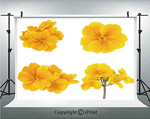 Yellow Flower Photography Backdrops Gardening Themed Collection with Little Tender Primrose Primula Blossoms Decorative,Birthday Party Background Customized Microfiber Photo Studio Props,7x5ft,Mustard - Primrose Farm