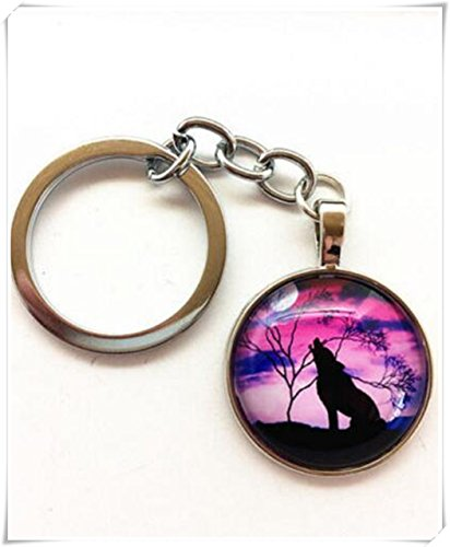 Vintage wolf Keychain Cabochon Tibetan silver Glass Metal Key Ring