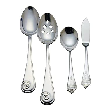 Reed & Barton Sea Shells 18/10 Stainless Steel 4-Piece Flatware Hostess Set