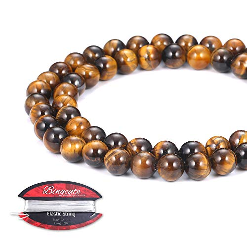 Bingcute 8mm Yellow Tiger Eye Gemstone Round Loose Beads for Jewelry Making- 15.5