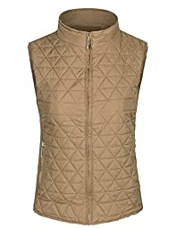 BOHENY Womens Quilted Fully Fur Lined Lightweight Vest with Hoodie-M-TAUPE_FUR