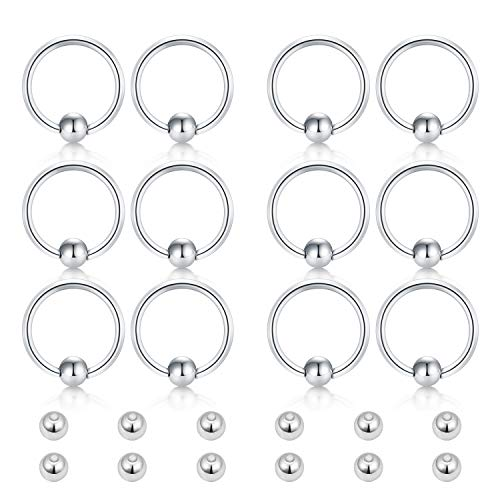 - Incaton 16g Surgical Steel Captive Bead Rings Nose Hoop Lip Eyebrow Tongue Helix Tragus Cartilage Septum Piercing Ring w Replacement Balls