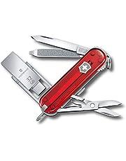 Victorinox Scyzoryk @Work (8 funkcji, ostrze, pamięć USB 32 GB, nożyczki, pilnik do paznokci, długopis) czerwony przezroczysty