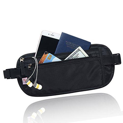 AIKELIDA RFID Blocking Travel Wallet - Money Belt & Passport Holder - Black