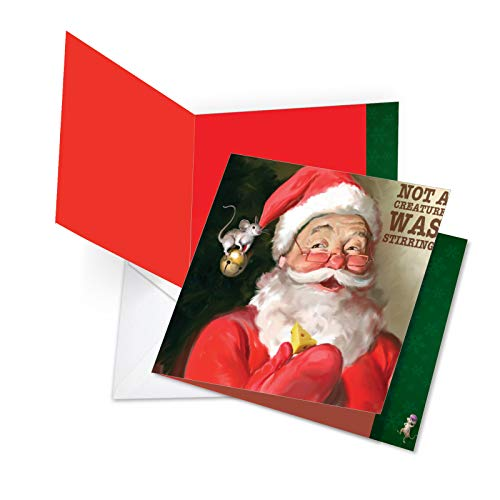 JQ4943AXSG Jumbo Christmas Square-Top Card: Santa Mouse Stirring Featuring Heartwarming Retro Images of Santa Claus and Rodent Friend, with Envelope 8.5 x 11 Inch