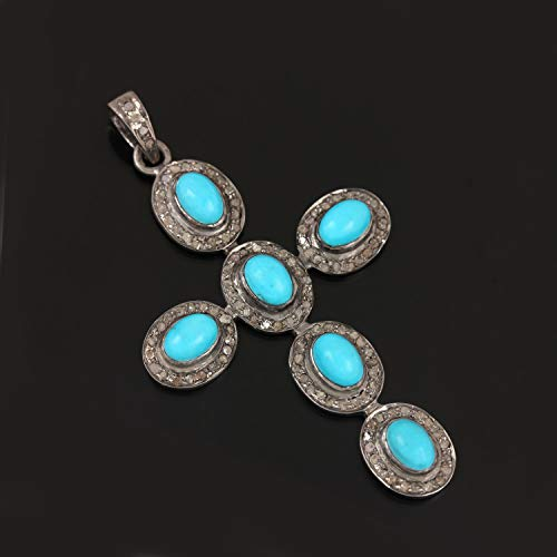 - Genuine Turquoise Gemstone Cross Pendant Solid 925 Sterling Silver Diamond Pave Vintage Style Jewelry