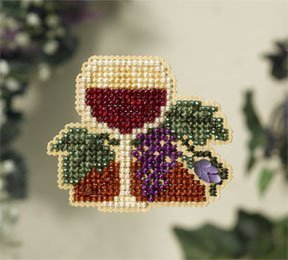 Wine Glass Beaded Counted Cross Stitch Ornament Kit Mill Hill 2007 Spring Bouquet MH18-7102