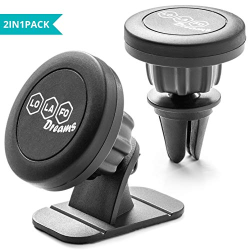 Magnetic Car Mount Holder for Cell Phone 2-in-1 Universal Phone Holder Air Vent Dashboard Mount Phones Mounts for iPhone X/8/7/7P/6S/6P/5S Samsung Galaxy S5/S6/S7/S8 Nexus Nokia Google Huawei and More