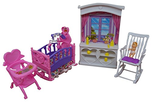 My Fancy Life Barbie Dollhouse Furniture New Baby Room Play Set (Dollhouse Nursery Baby)