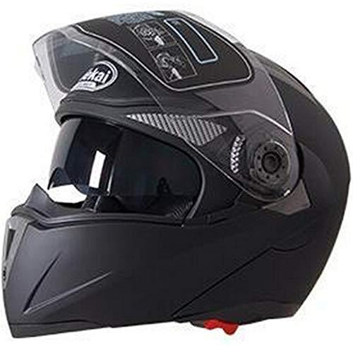 Price comparison product image ty Motorcycle Flip Up Helmet Moto Helmet Motorbike with Inner Sun Visor Helmet -105 Matte Black XL