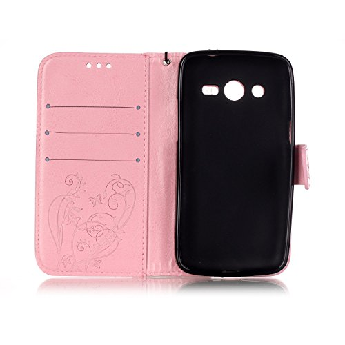 JIALUN-Personality teléfono shell Carcasa de la caja de color sólido Samsung Galaxy G386F, Carcasa de la caja de la cartera de cuero de la PU superior Carcasa de relieve magnética para Samsung G386F S Pink