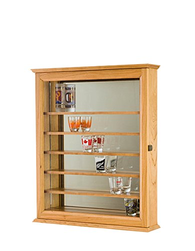 Shot Glass Shooter Display Case Mirror Wall Cabinet- Oak Hardwood *Made in the (Craftsman Glass Cabinet)